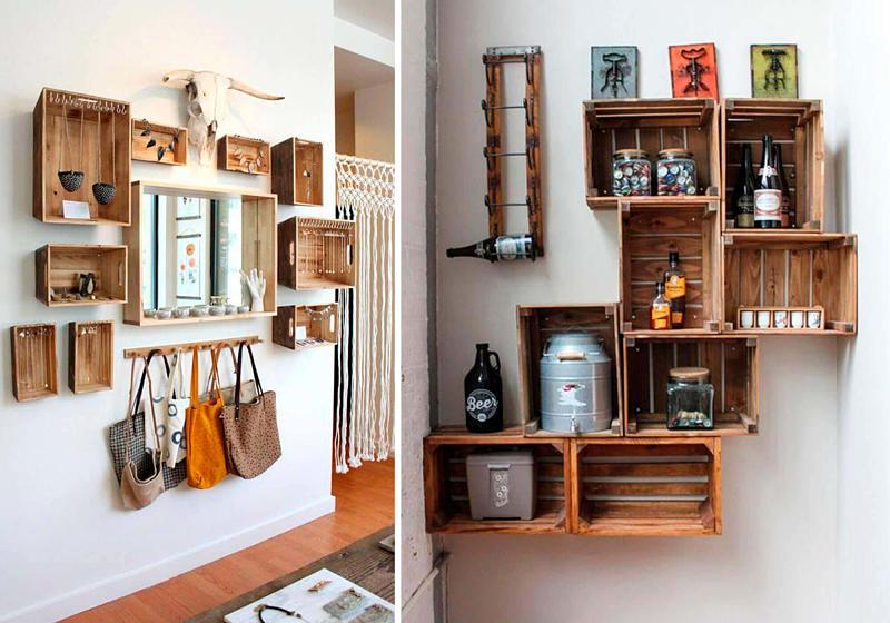caixas de madeira usadas para decorar sala